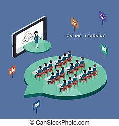 concepto, aprendizaje, en línea