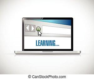 concepto, aprendizaje, ilustración, en línea