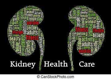 concepto, arreglo, salud, info-text, plano de fondo, gráficos, negro, riñón, cuidado
