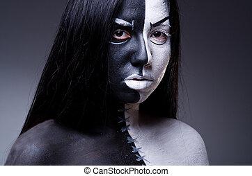 concepto, asustadizo, mujer, halloween, satanás