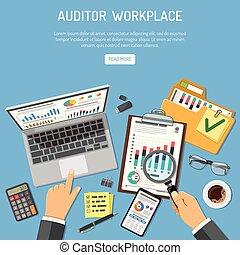 concepto, auditor, lugar de trabajo