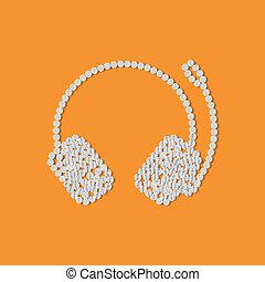 concepto, auriculares, píldoras
