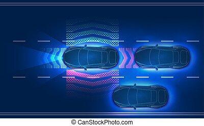 concepto, auto., automático, choque, systems., evitar, hud, ...