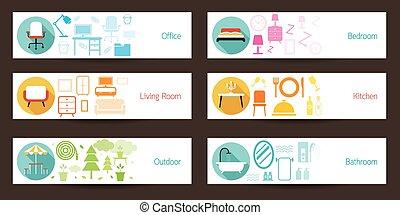 concepto, bandera, muebles