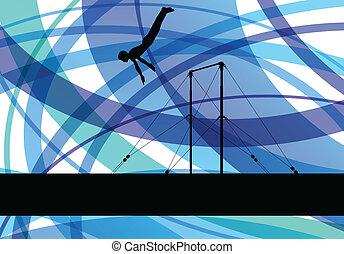 concepto, barra, plano de fondo, atleta, vector, gimnasia, ...