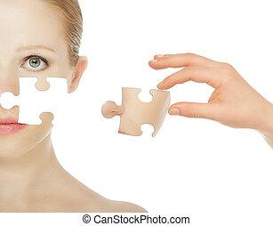 concepto, belleza, puzzles., después, aislado, joven, skincare, mujer, plano de fondo, piel, blanco, procedimiento, antes