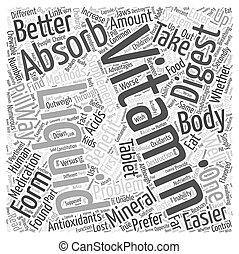 concepto, beneficios, vitaminas, líquido, palabra, nube