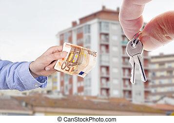 concepto, billete de banco, teclas de casa, mano, compra,...