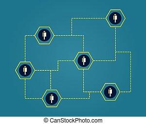 concepto, blockchain, cryptocurrency, conectado, plano de ...