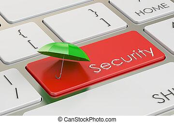 concepto, botón, interpretación, teclado, seguridad, 3d