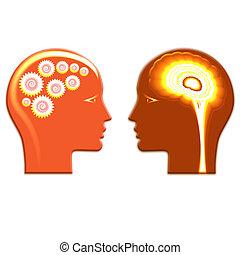 concepto, cabezas, cerebro, gente, pensamiento, dos,...