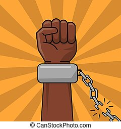 concepto, cadena, libertad, mano, roto, negro