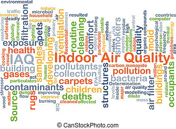 concepto, calidad, interior, aire, plano de fondo, iaq