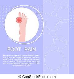 concepto, callus., pie, foot., marcadores, dolor