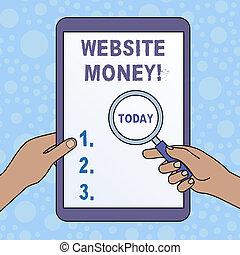 concepto, cambiado, texto, dinero., necesidad, tacto, aumentar, refers, ganado, escritura, teniendo dinero, sitio web, nosotros, empresa / negocio, tablet., pantalla, vidrio, manos, palabra, promover, de, contra, dónde