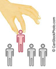 concepto, candidato, seleccionado, -, textura, mano, papel, ...