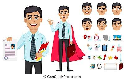 concepto, carácter, caricatura, hombre de negocios