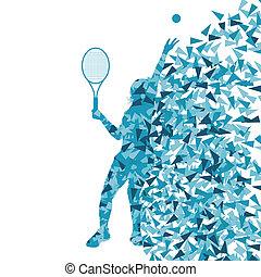 concepto, cartel, jugadores del tenis, siluetas, vector,...