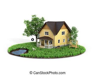 concepto, casa, home., árboles, fondo., isla, blanco, pasto...