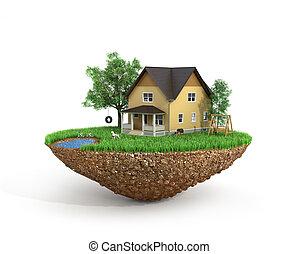 concepto, casa, home., flying., árboles, isla, pasto o...