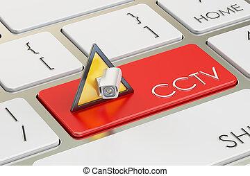 concepto, cctv, botón, interpretación, teclado, rojo, 3d