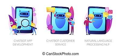 concepto, chatbot, metáforas, vector