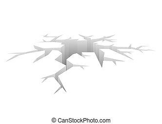 concepto, choque, hole., vector, diseñado, plano de fondo, blanco, crack.