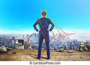 concepto, city., corona, capa, egocentrism., miradas,...