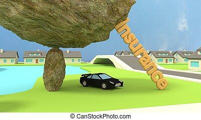 concepto, coche, roca, deportes, insurence, debajo