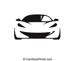 concepto, coche, silhouette., supercar, vehículo, deportes