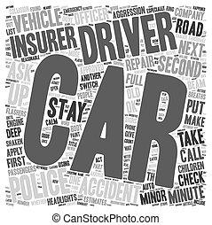 concepto, coche, supervivencia, wordcloud, minuto, plano de fondo, texto, accidentes, guía, menor