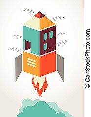 concepto, cohete, infographic, educación en línea,...