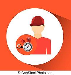 concepto, colección, tshirt, elementos, navegación, rojo, hombre