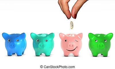 concepto, colocación, happy., mujer, dar, seleccionado, dinero., él, mano, hormiga, choice., bueno, banco, escoger, pedazo, fable., cerdito