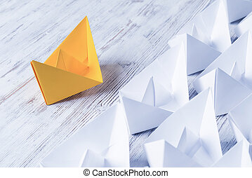 concepto, color del negocio, papel, liderazgo, barcos, blanco