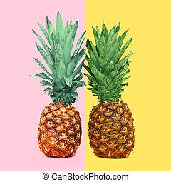 concepto, colorido, ananas, dos, plano de fondo, piña