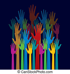concepto, colorido, arriba, democracia, mano