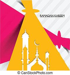 concepto, colorido, mezquita, ramadan, creativo, vector, diseño, kareem