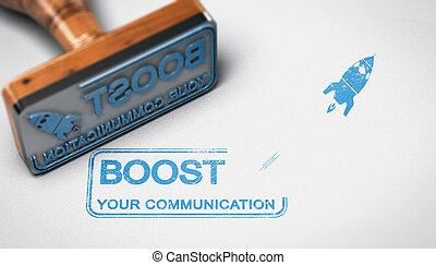 concepto, compañía, comunicación, publicidad, alza, su