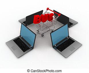 concepto, compras, 3d, en línea