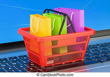 concepto, compras, computador portatil, en línea, interpretación, internet, teclado, 3d