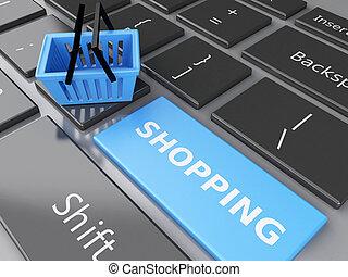 concepto, compras, computadora, en línea, cesta, keyboard., 3d