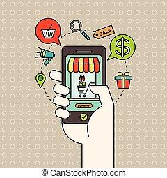 concepto, compras, contorno, iconos, mercadotecnia, digital, mano, teléfono, comercio electrónico, en línea, elegante