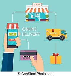 concepto, compras en línea, y, e-commerce., iconos, para, móvil, marketing., tenencia de la mano, elegante, teléfono., plano, color, horizontal, bandera, set., plano, diseño, estilo, moderno, vector, ilustración, concept.