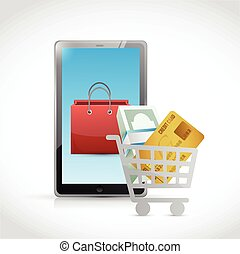 concepto, compras, ilustración, en línea