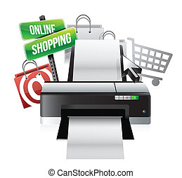 concepto, compras, impresora, en línea