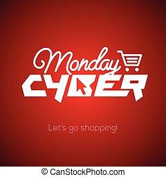concepto, compras, lunes, mercadotecnia, cyber, en línea