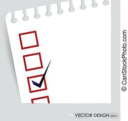 concepto, comprobado, lista de verificación, boxes., ...