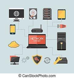 concepto, computadora, red