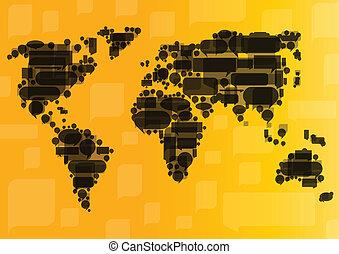 concepto, comunicación del negocio, globalización, vector, ...